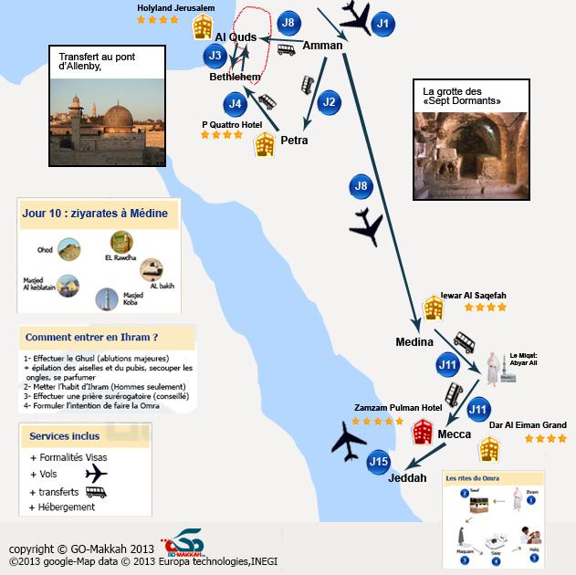 Grand combiné Omra avec la Jordanie et 10 villes palestiniennes