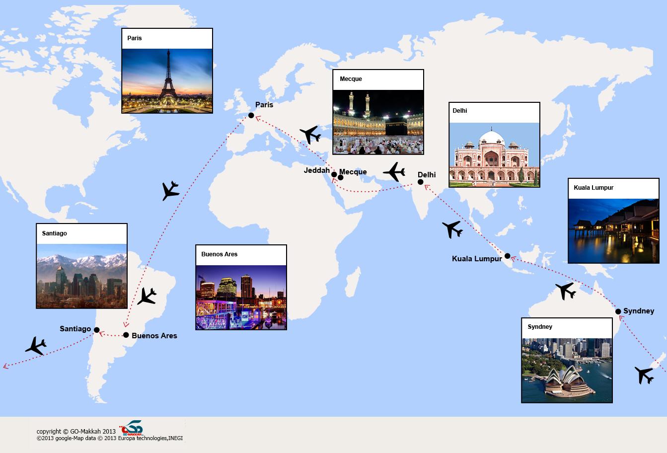 Combiné Omra avec le tour du monde en un mois