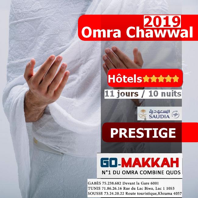 Omra Chawwal 2019 en Prestige 11 Jours
